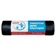 Мешки для мусора 160 л, черные, в рулоне 20 шт., ПВД, 30 мкм, 87х120 см, PACLAN Professional, 1338607