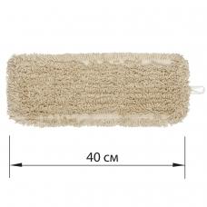 Насадка МОП плоская для швабры/держателя 40 см, У/К уши/карманы, нашивной хлопок, ЛАЙМА EXPERT