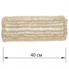 Насадка МОП плоская для швабры/держателя 40 см, У/К уши/карманы, хлопок/микрофибра, ЛАЙМА EXPERT
