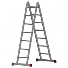 Лестница-трансформер алюминиевая 2х7 ступеней, высота 4,0 м 2 секции по 1,95 м, нагрузка 150 кг, 511207
