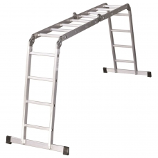Лестница-трансформер алюминиевая 4х4 ступеней, высота 4,5 м 4 секции по 1,27 м, нагрузка 150 кг, вес 12,9 кг, 511444