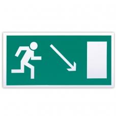 Знак эвакуационный Направление к эвакуационному выходу направо вниз, 300х150 мм, самоклейка, фотолюминесцентный, Е 07