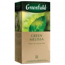 Чай GREENFIELD Гринфилд Green Melissa, зеленый, 25 пакетиков в конвертах по 1,5 г