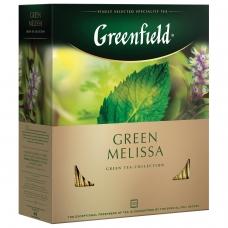 Чай GREENFIELD Гринфилд Green Melissa, зеленый, с мятой, 100 пакетиков в конвертах по 1,5 г, 0879