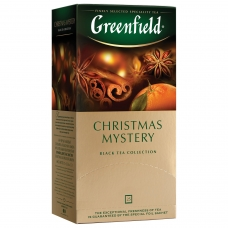 Чай GREENFIELD Гринфилд Christmas Mystery Таинство Рождества, черный с корицей, 25 пакетиков, по 1,5 г, 0434-10