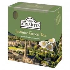 Чай AHMAD Ахмад Jasmine Green Tea, зелёный с жасмином, 100 пакетиков по 2 г, 475-012