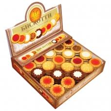 Печенье БИСКОТТИ Ассорти, 9 видов, глазированное, сдобное, 1,9 кг, картонный шоу-бокс
