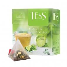 Чай TESS Тесс Ginger Mojito, зеленый с ароматом мяты и лайма, 20 пирамидок по 1,8 г, 0788-12