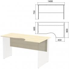 Столешница, царга стола эргономичного Канц 1400х800х750 мм, правый, цвет дуб молочный, СК30.15.1