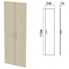 Дверь ЛДСП высокая Канц, КОМПЛЕКТ 2 шт, 346х16х1798 мм, цвет дуб молочный, ШК40.15.1