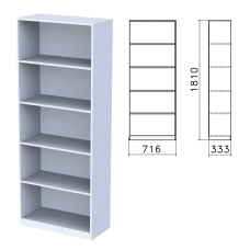 Шкаф стеллаж Бюджет, 716х333х1810 мм, 4 полки, серый, 402651-030