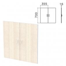 Дверь ЛДСП низкая Бюджет, КОМПЛЕКТ 2 шт., 355х16х700 мм, дуб шамони светлый, 402879-430