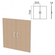 Дверь ЛДСП низкая Бюджет, КОМПЛЕКТ 2 шт., 355х16х700 мм, орех онтарио, 402879-160