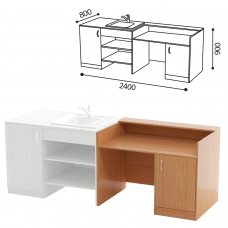 Стол ПАКЕТ 2 для кабинета химии, 2400х800х900 мм, ЛДСП бук/пластик