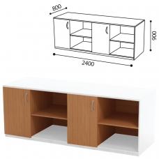 Стол ПАКЕТ 2 для кабинета физики, 2400х800х900 мм, ЛДСП бук/пластик