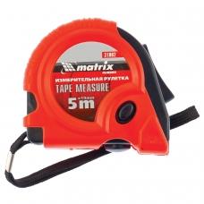 Рулетка измерительная 5,0 м х 19 мм, MATRIX Rubber, обрезиненный корпус, 3 механизма фиксации, 31002