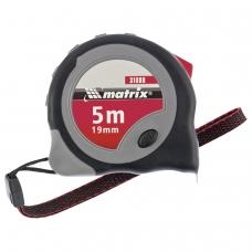 Рулетка измерительная 5,0 м х 19 мм, MATRIX Continuous Fixation, обрезиненный корпус, 2 механизма фиксации, 31088